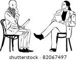 two men sitting reading... | Shutterstock .eps vector #82067497