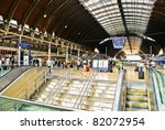 LONDON - MAY 29: The interior of Paddington train station on May 29, 2011 in London, UK. Paddington is one of the biggest train stations in London. - stock photo