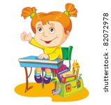vector illustration-schoolgirl sit on the school desk - stock vector