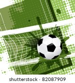 illustration, soccer ball on abstract green background - stock vector