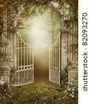 Stock photo old garden gate with ivy and roses 82093270