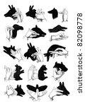 shadow hand puppets   reindeer  ... | Shutterstock .eps vector #82098778