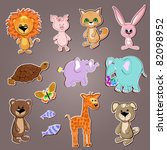 funny animals collection | Shutterstock .eps vector #82098952