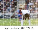 Goal net for Football or soccer with stadium background - stock photo
