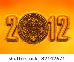 A conceptual 3d render of the Mayan calander and 2012 year as if etched out of gold. Copy space - stock photo
