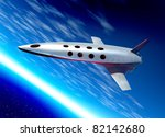Conceptual image of a space plane in Earth orbit as is on a tourist flight - stock photo