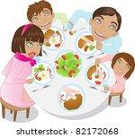 family dinner on white | Shutterstock .eps vector #82172068