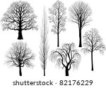 collection of trees silhouettes | Shutterstock .eps vector #82176229