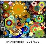 retro foliage  flower and...