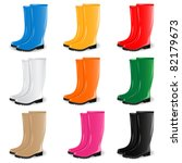 colored rubber boots vector set | Shutterstock .eps vector #82179673