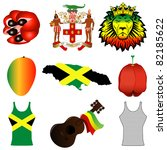 Raster version Illustration of 9 different Jamaican icons. - stock photo
