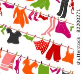 Stock vector seamless colorful clothes drying 82200271