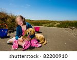 kid and her dog - stock photo