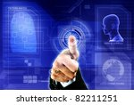 conceptual image of digital fingerprint identification security - stock photo