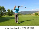 young male golfer hitting a... | Shutterstock . vector #82252534