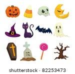 halloween icons set | Shutterstock .eps vector #82253473