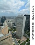 View of Shinjuku Ward in Tokyo, Japan from the 45th floor of the Metropolitan Government Building. - stock photo