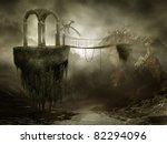 fantasy shrine on flying rocks... | Shutterstock . vector #82294096