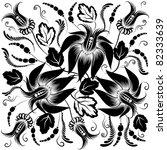black flowers on a white... | Shutterstock .eps vector #82333639