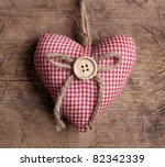 Heart With Button On On Wooden...