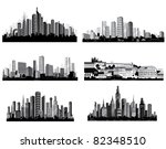 the best  city silhouettes. set. | Shutterstock . vector #82348510