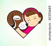 girl and dog embrace love | Shutterstock .eps vector #82353685