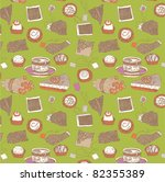 tea and cake seamless pattern | Shutterstock .eps vector #82355389