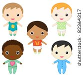 six happy baby boys. girls' set ... | Shutterstock .eps vector #82364317