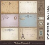 antique postcards 2   set of 6... | Shutterstock .eps vector #82384333