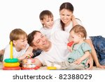 cute family of a five on carpet | Shutterstock . vector #82388029