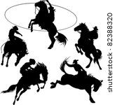 Cowboys On Horses Silhouettes...