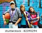 row of happy teens by painted... | Shutterstock . vector #82390294