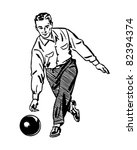 man bowling 2   retro clipart... | Shutterstock .eps vector #82394374