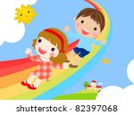 kids and rainbow vector | Shutterstock .eps vector #82397068