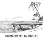 beach  sea and wooden jetty | Shutterstock .eps vector #82400041