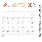 vector calendar 2012 september