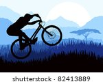 Mountain bike trial rider in wild africa nature landscape illustration - stock vector