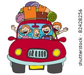 an image of a family driving in ... | Shutterstock . vector #82428256