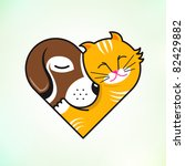 Stock vector cat and dog embrace love 82429882