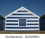 Blue And White Beach Hut On...