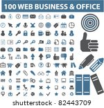 100 web business   office icons ... | Shutterstock .eps vector #82443709