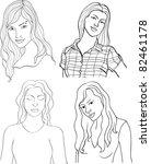 set of girls isolated on white... | Shutterstock .eps vector #82461178