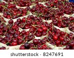 Cherries at a greengrocer - stock photo