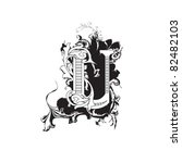letter u ornate black and white | Shutterstock .eps vector #82482103
