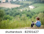 Stock photo adorable little girl and a cat outdoors 82501627