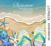 flip flops and shells on the... | Shutterstock .eps vector #82506217