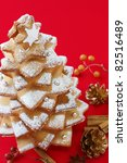 cookie christmas tree on a red... | Shutterstock . vector #82516489