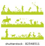 Three Green Landscape Banners...
