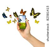 Butterfly Reaches Out Of Phone