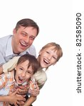 happy dad with his sons on a... | Shutterstock . vector #82585090